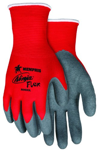 Memphis Glove N9680L Ninja Flex Nylon Shell Gloves with Latex Dip Palm and Fingertips, Gray/Red, Large, 1-Pair - Fingertip Coated Gloves