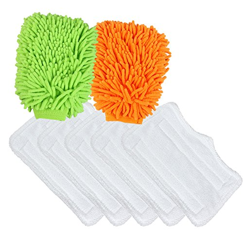 Pro Steamers Euro (The Elixir Eco Green Set of 7, (5) x Shark Steam Microfiber Replacement Cleaning Mop Pads with (2) x Microfiber Chenille Scratch-Free Cleaning Glove Mitt)