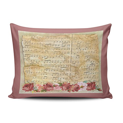 XIUBA Pillowcases Pink and Beige Vintage Shabby Chic Floral Musical Notes Customizable Decorative Rectangle 12x20 inch Boudoir Size Throw Pillow Case Hidden Zipper One Side Design Printed