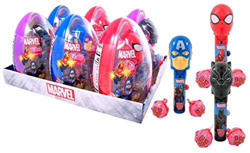 Marvel Avengers Giant Eggs with Assorted Character Pop Ups Lollipop Case and Suckers, Pack of 6]()