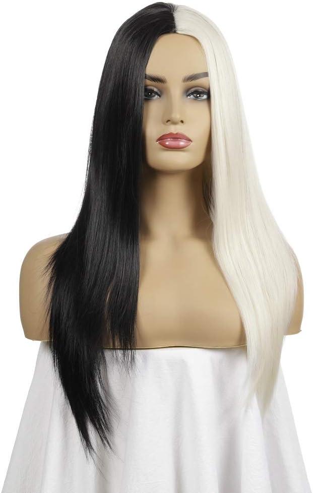 ZCFXGHH La Mitad Negro Media Larga Blanca Peluca Recta Pelucas sintéticas del Pelo para Las Mujeres a Prueba de Calor de Cosplay de Maquillaje Diario de Cabello: Amazon.es: Hogar