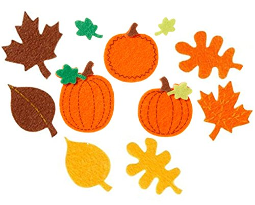 90 Piece Autumn/Fall Felt Sticker Pumpkins & Leaves