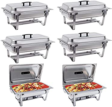 Chafing Dish -SUNCOO 8 Quart Stainless Steel Chafer Dish Full Size Chafers Rectangular Chafer W Water Pan, Food Pan, Fuel Holder and Lid For Catering Buffet Warmer Set with Folding Frame 6 PACK