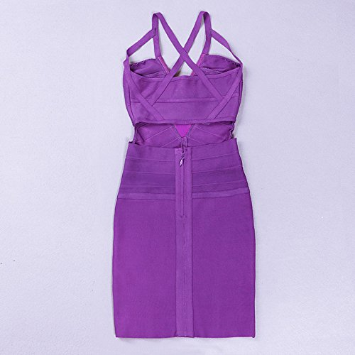Corte Club Dress Mangas Bandage Bodycon Celebrity amp; Elmer Mujers Rayon Vestido Vestido Purple Bajo para Mujer Honda Party Sin Alice wXOq688