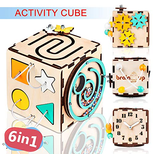 BrainUpToys Busy Activity Cube for Travel Toddlers Kids Children Baby – Busy Board – Wooden Sorter Toy – Montessori Toys…