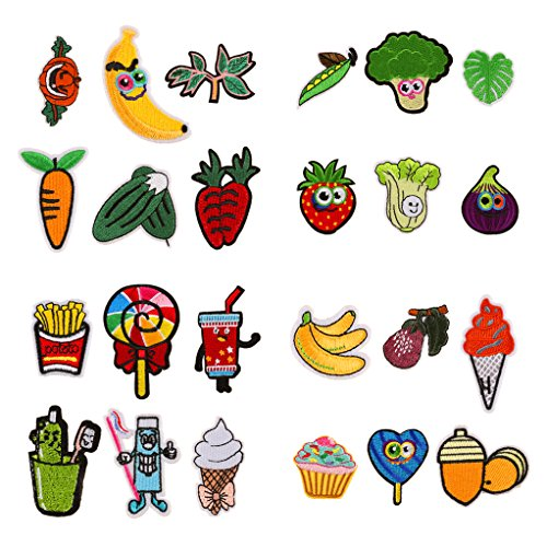 24pcs Assorted Vegetables Fruits Iron on Patches Lettuce Carrot Broccoli Embroidered Patches Banana Strawberry Appliques for DIY Sew on Repair