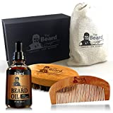 BEARD CARE KIT + Comb + Brush + Oil + Luxury Gift Box. Made in USA 100%, Bamboo Boar Bristle Easy Grooming, Unscented Leave-In Conditioner, Mustache Goatee Helps Itchiness Dandruff Jojoba Argan Oil