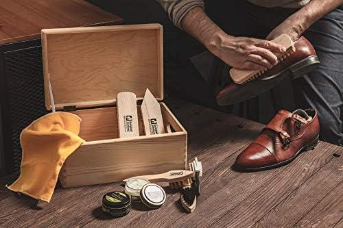 Juego Cuidado Zapatos en Caja de Madera, Caja Limpiabotas, Crema de Base Acuosa Kaps con Cepillos Langlauf, Hecho en Europa, Todo para la Limpieza y Pulido de Calzado de Cuero, 10 Piezas: