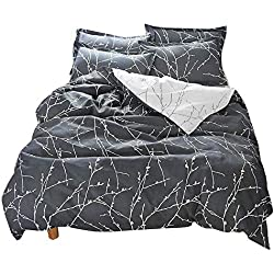 BuLuTu Floral Kids Duvet Cover Set Twin Navy Egyptian Cotton,Reversible Branch Bedding Set,Zip Zipper,1 Duvet Cover + 2 Pillowcases,Love Gifts for Boy,Girl,Teen,Friend,Women,Men,Family,NO Comforter