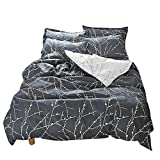 BuLuTu Vintage Floral Kids Duvet Cover Set Queen Egyptian Cotton,Reversible Branch Full Bedding Set,Zipper,1 Duvet Cover + 2 Pillowcases,Gifts for Boy,Girl,Teen,Friend,Women,Men,Family,NO Comforter