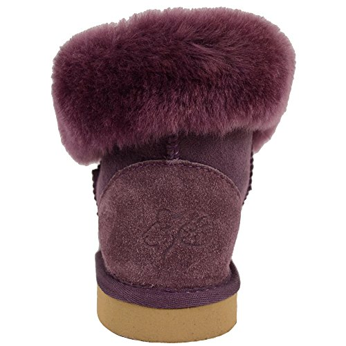 Lower Chestnut Purple Chocolate Boot Short Button Bushga Black by Down with Sheepskin Purple Genuine Roll Design Calf Ladies Brown aWqpEFwT