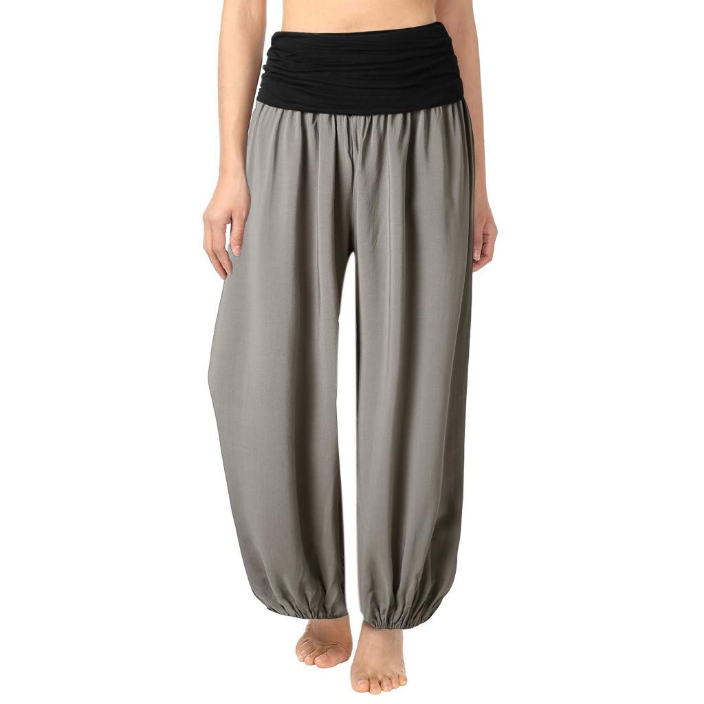 Ansenesna Pumphose Damen Yoga High Waist Gummibund Elegant Haremshose Frauen Einfarbig Locker Sport Hose