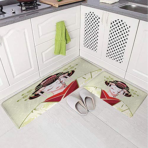 2 Piece Non-Slip Kitchen Mat Rug Set Doormat 3D Print,Traditional Asian Kimono Maiko Cultural Hairdo,Bedroom Living Room Coffee Table Household Skin Care Carpet Window ()