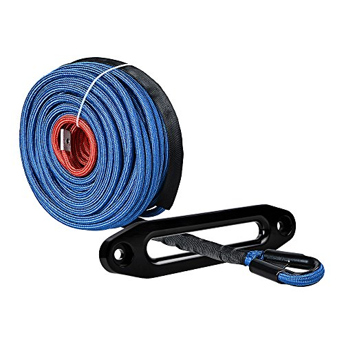 Astra Depot 95ft x 3/8 inch Synthetic Winch Line Cable Rope 22000LBs w/Heat and Rock Guard + Anodized Black 10