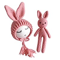 YeahiBaby Newborn Baby Knit Rabbit Bunny Hat Beanie With Rabbit Dolls Photography Photo Prop accessories (Pink)