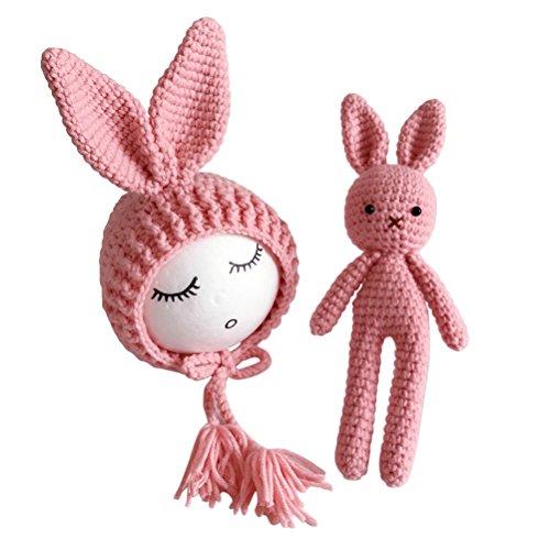 YeahiBaby Newborn Baby Knit Rabbit Bunny Hat Beanie With Rabbit Dolls Photography Photo Prop accessories (Pink) ()