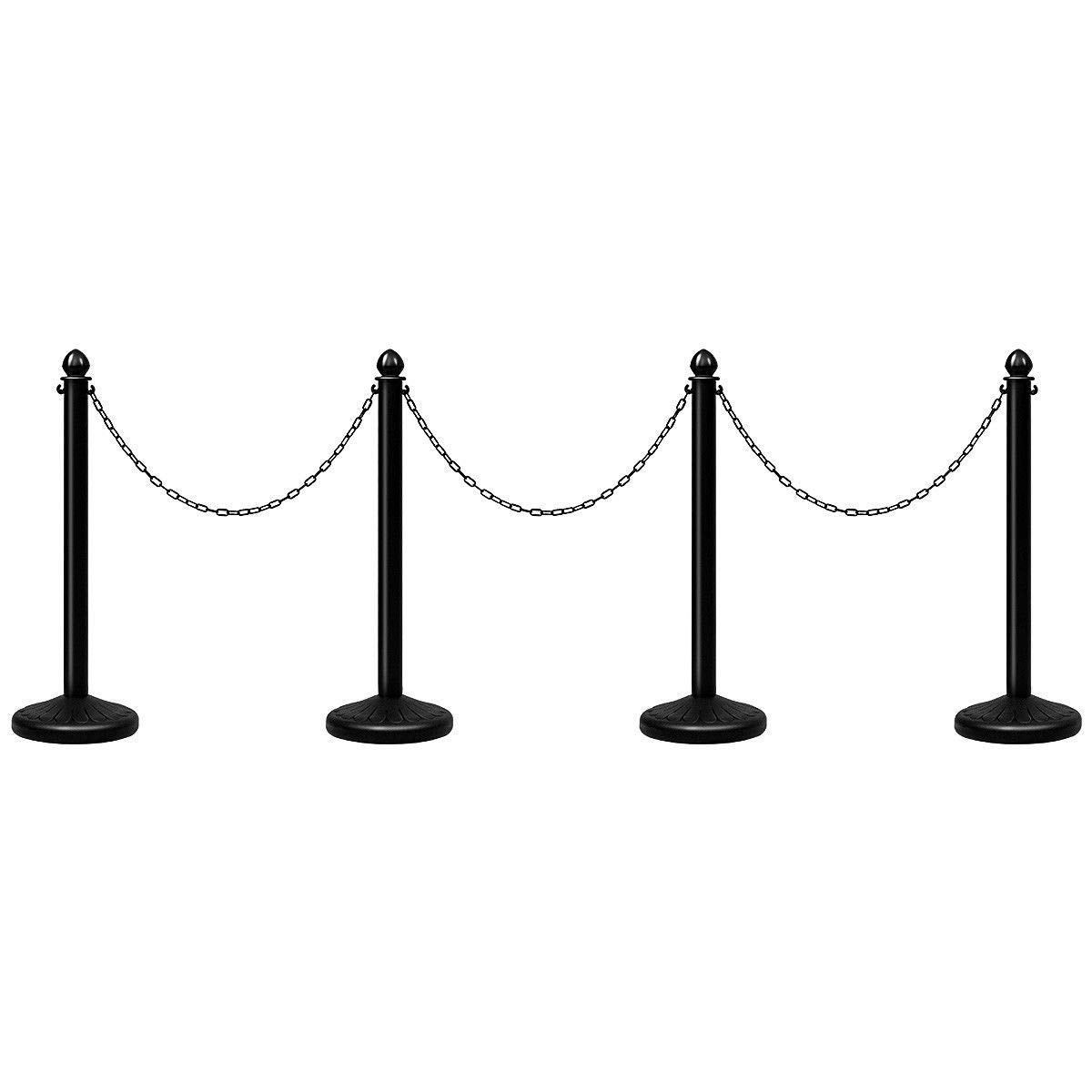 Goplus 4pcs Plastic Stanchion Set Crowd Control Stanchions Barriers Outdoor and Indoor Stanchions with 39.5'' Connect Chain, C-Hooks by Goplus