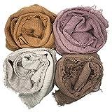 MANSHU 4PCS Women Soft Cotton Hemp Scarf Shawl Long Scarves, Scarf and Wrap, Big Head Scarves.