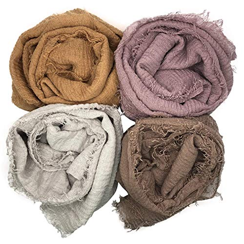 MANSHU 4PCS Women Soft Cotton Hemp Scarf Shawl Long Scarves, Scarf and Wrap, Big Head Scarves. (For Hijab Scarf)