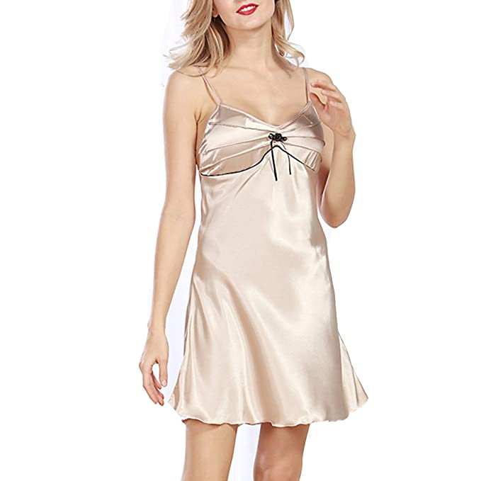 Mujer Ropa Interior Sexy con Imitación de Seda Camisón Pijama Verano Señora: Amazon.es: Ropa y accesorios