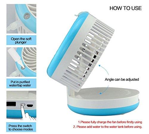 Cingk Personal Fan Cooling Misting Fan, Portable USB Rechargeable Fan, Power Bank, Table Desk Mini Humidifier, Multifunction 3 in 1, Blue by Cingk (Image #3)