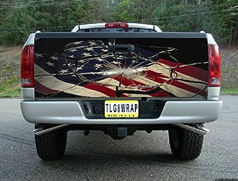 Amazon.com: T39 Bandera Americana vidrio Roto Portón Trasero ...