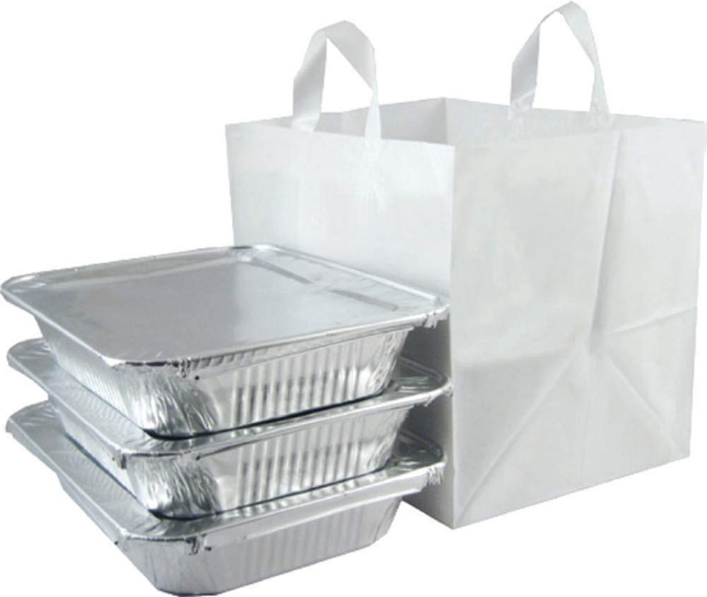 ZT Packaging Take Out Bag Medium 14 x 11.5 x 12; 200Pcs Half Tray Catering Bags Cardboard Bottom Soft Loop Handles White Plastic Shopping Bag
