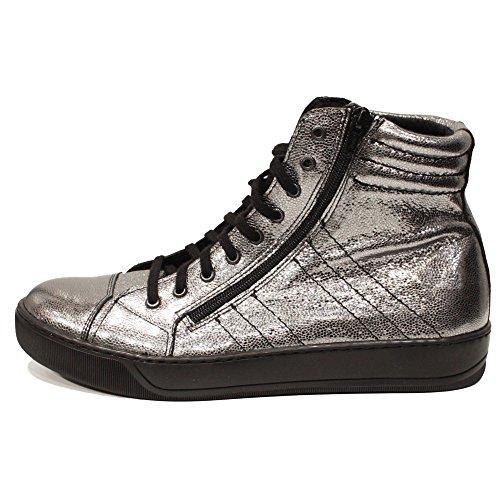 Modello Silviko - Handmade Italiennes Argent Chaussures Décontractées - Peau de chèvre Cuir souple - Lacer