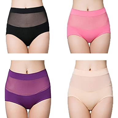 01d0593996e BDSMAGE Ladies High Waisted Underwear Cotton Full Briefs Tummy Control  Briefs Knickers Panties 4 Pack (