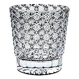 Crystal Double Old Fashioned Bar Glass 8.8oz Edo Kiriko Eternal Flower Design Cut Glass - Black [Japanese Crafts Sakura]