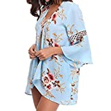 Syban Women Lace Floral Open Cape Casual Coat Loose Blouse kimono Jacket Cardigan(Medium,Y1-Blue)