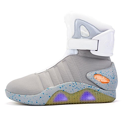 Green Hope-Rise Field Men' Fabric LED Flashing High-Top Shoes Light Up Sneakers DQBF95-Grey-45 ()