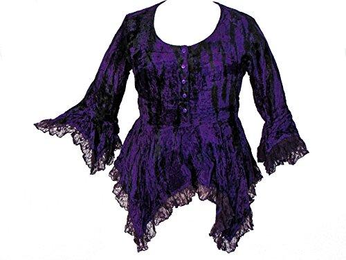Darkstar Dye - Dark Star Black Purple Tie Dye Gothic Velvet Lace Renaissance Bell Sleeve Top (TAGGED LFITSLXL)