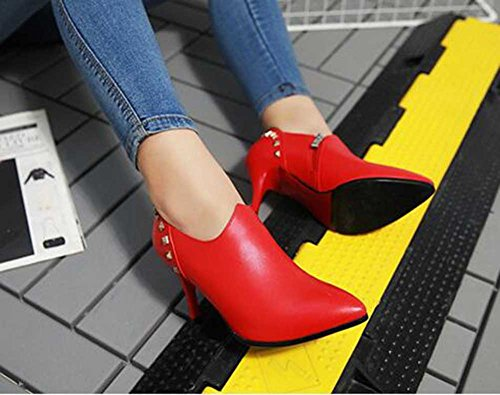 Pointed Heel Rivet Toe Boots Trendy Ankle High Stiletto Zipper Solid CHFSO Red Womens CqXpxp