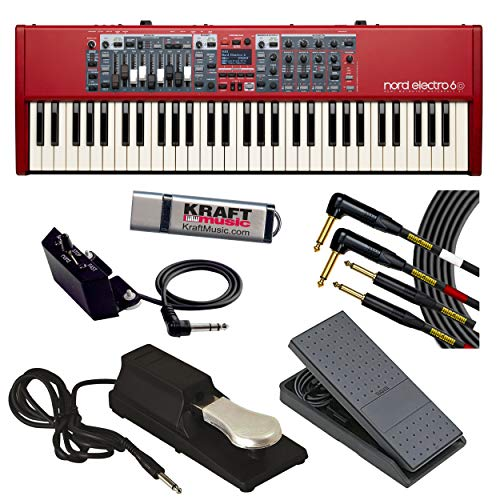 Nord Electro 6D 61 with Nord Half Moon Switch, Mogami Dual Instrument Cable, Expression Pedal, Piano-Style Sustain Pedal and Flash Drive