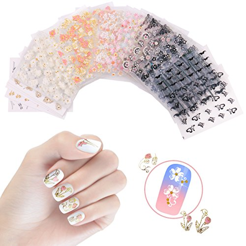 NiceDeco 50 Sheets 3D Design Self-adhesive Tip Nail Stickers Nail Art Tattoo Nail Decals DIY Nail Art Decoration Flower/Butterfly/Fishes/Stars/Cat/Halloween Skull/Moustache/Lace ()