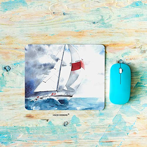 HGOD DESIGNS Sea Gaming Mouse Pad,Seascape Sail Yacht Boat Waves Storm Weather Watercolor Painting Mousepad Rectangle Non-Slip Rubber Mouse ()