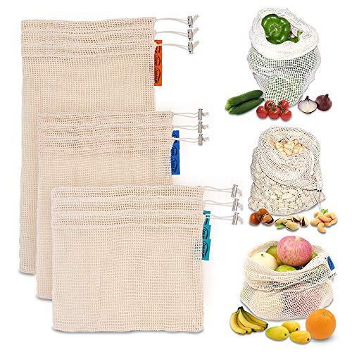 JUNMAO REUSABLE PRODUCE BAGS for Grocery Shopping & Storage&Organization,9PCS/SET 3 SIZES Mesh Bags,Eco-Friendly Natural Muslin Cotton Drawstring & Premium Washable Set
