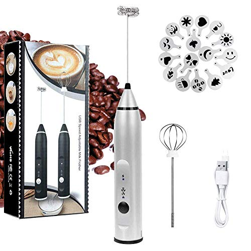 (Milk Frother Electric, Handheld USB Rechargeable JYSW Gift for Coffee Lovers, 3 Speeds Foam Maker for Lattes, Cappuccino - 2 Stainless Steel Whisks with Extra Coffee Art Stencils & Handbag (Silver))