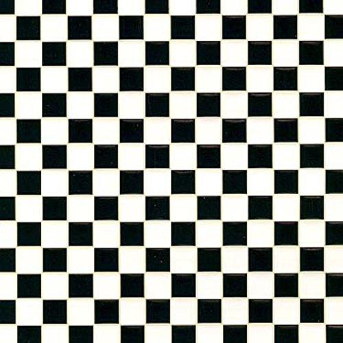 - Dollhouse Miniature Black and White Check Tile Flooring