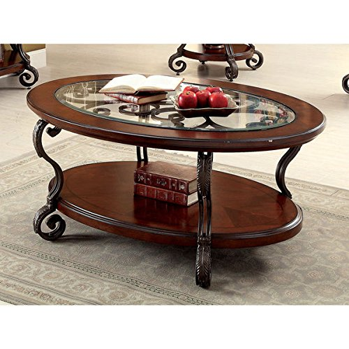 Furniture of America Cohler Elegant Glass Top Oval Coffee Table (Santa Fe Coffee Table Book)