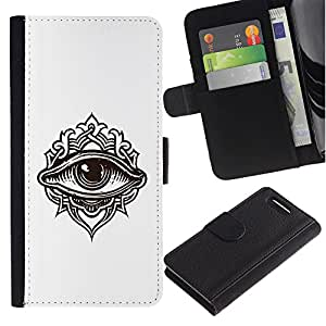 A-type (Detallada ilustración de ojos) Colorida Impresión Funda Cuero Monedero Caja Bolsa Cubierta Caja Piel Card Slots Para Sony Xperia Z1 Compact / Z1 Mini (Not Z1) D5503