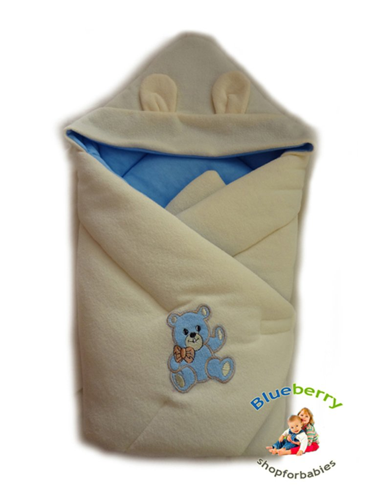 blueberryshop Hooded Thermo Terry Comfort Wickeltuch/Decke für Neugeborene Baby, blau Blueberry Shop for Babies 50006003