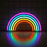 Ninight Rainbow Good Luck Neon Light, Cute Colored Night Light,Battery Or USB Powered Neon Sign as Wall Decor for Kids Room, Living Room, Festive Party