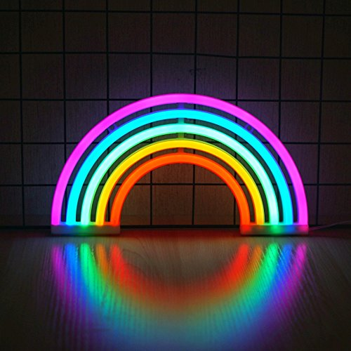 Ninight Rainbow Neon Light Cute Colorful Neon Rainbow Sign Battery Or Usb Powered Night Light