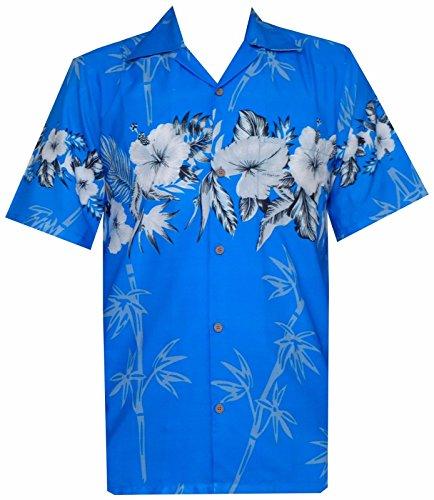Hawaiian Shirt 35 Mens Bamboo Tree Print Beach Aloha Party Holiday Sky Blue L