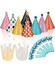Set van 17 partyhoeden, verjaardagsset, feesthoeden, kinderverjaardagsset, luchtrood, pijp, partyhoeden met pompons en verjaardagskroon, feesthoeden verjaardagsdecoratieset feestaccessoires voor kinderen festival