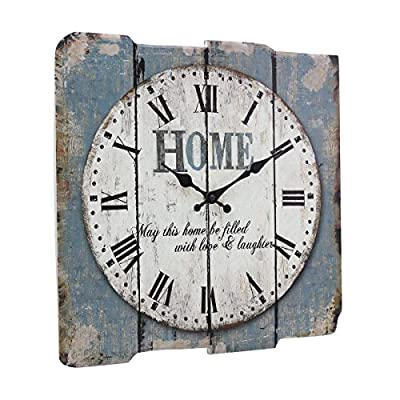 """Stonebriar Square 15"""" Rustic Farmhouse Worn Blue and White Roman Numeral Wall Clock, Shabby Chic and DIY Home Decor Accents for the Kitchen, Living Room, and Bedroom, Battery Operated"""