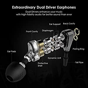 Earbuds, UiiSii DT200 In Ear Headphones with Microphone and Volume Control, Dual Drivers Earphones with HiFi Audio, Deep Bass for Noise Isolating, Compatible with Apple Headphones, Android(Black)