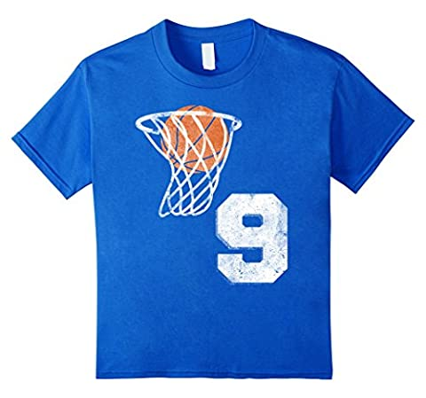 Kids Vintage Basketball Jersey Number 9 T-Shirt Player Number 12 Royal Blue - Basketball Jerseys Heather